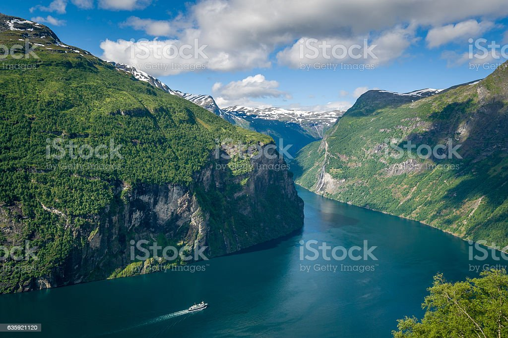 Cruise liner at Geiranger fjord, Norway. stock photo