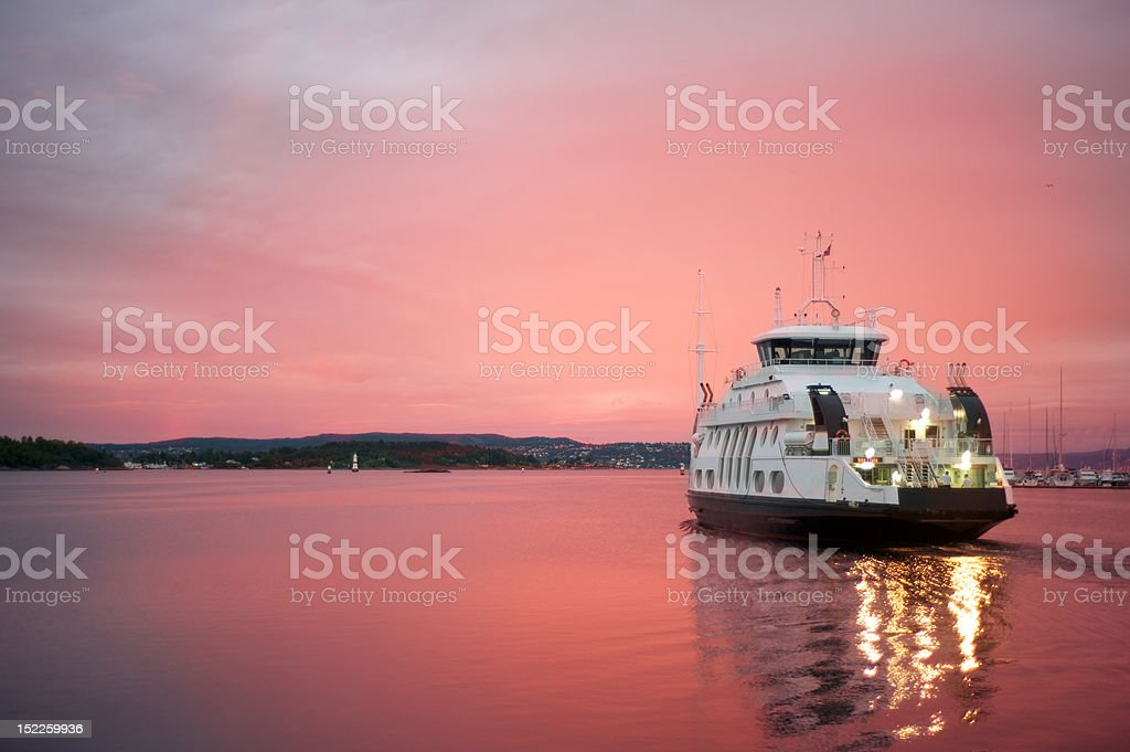 Cruise liner departuring from Oslo harbor stock photo