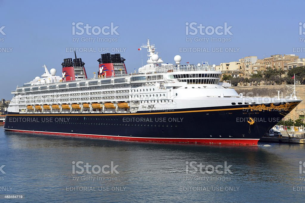 Cruise liner Disney Magic is docked at port of Valletta stock photo