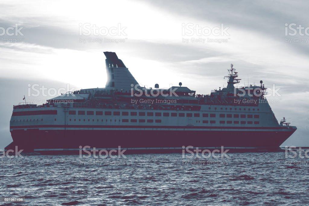 Cruise liner leaving Riga stock photo