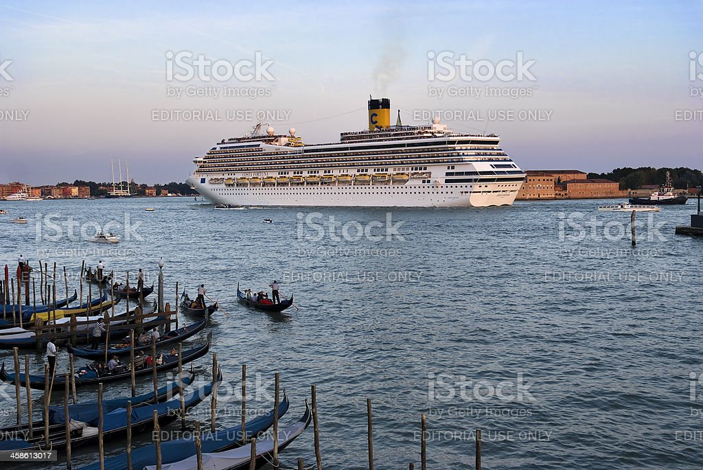 Cruise Liner Leaving The Port Of Venice.Color Image royalty-free stock photo