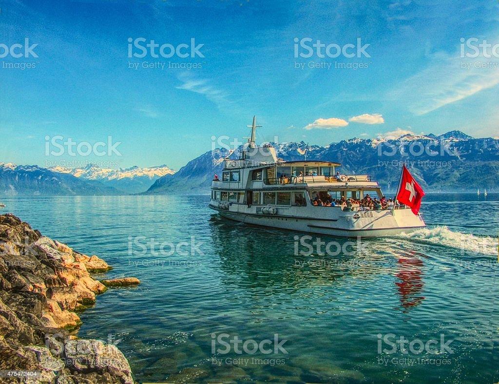 Cruise on Lake Geneva (Leman) in Switzerland stock photo
