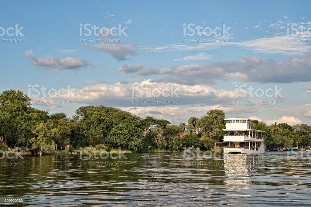Cruise on river Zambeze, Zambia stock photo