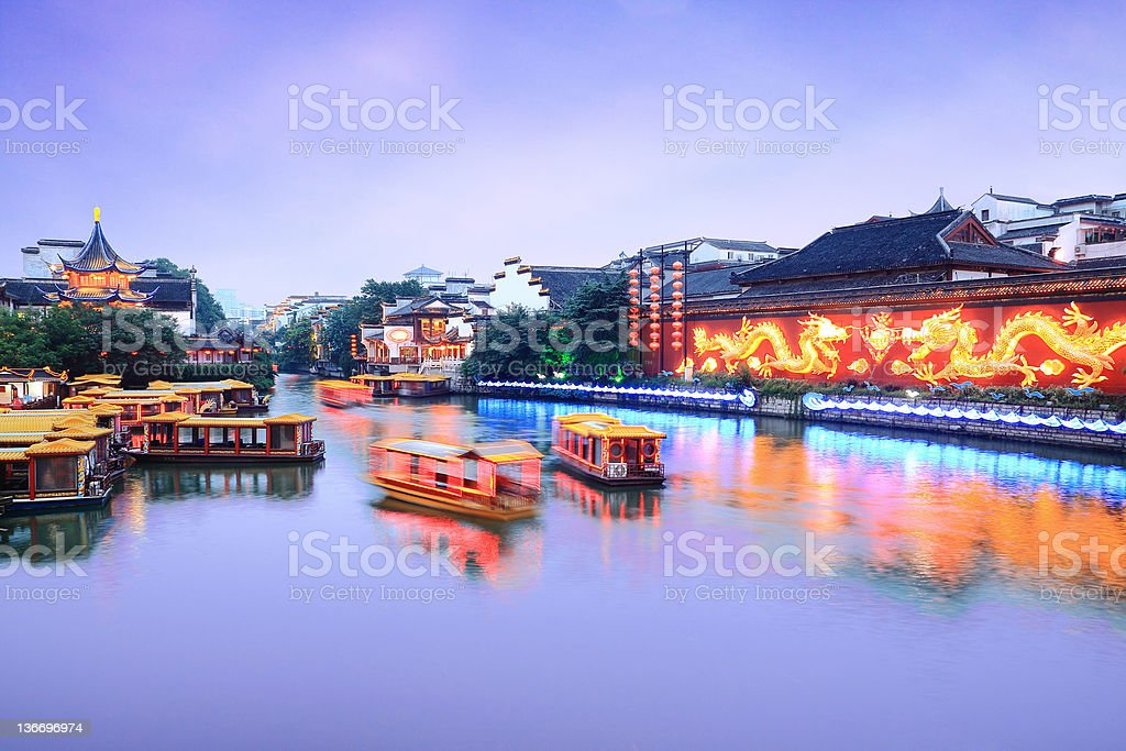 Cruise on the Canal in Nanjing Confucius stock photo