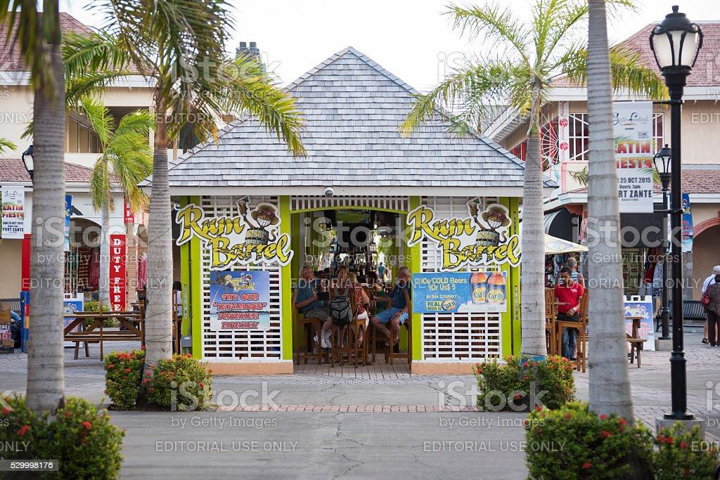 Cruise passengers in St. Kitts stock photo
