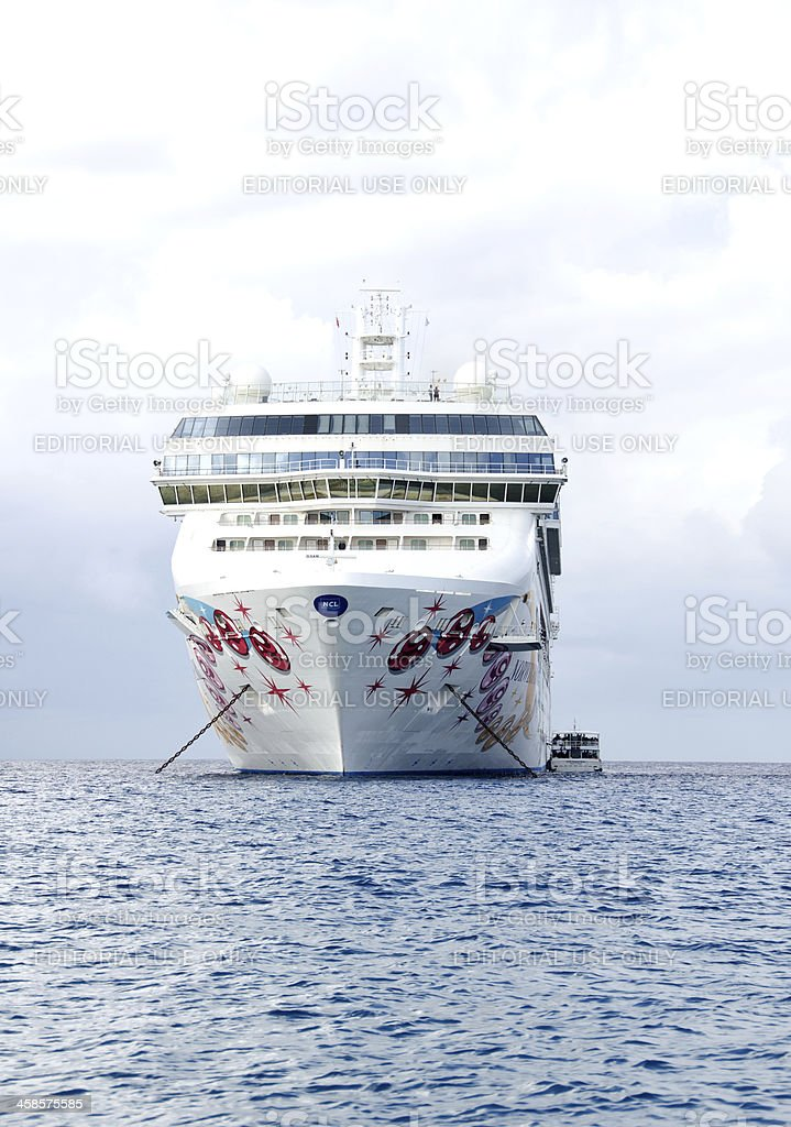 Cruise Ship Anchorded and Tenders stock photo