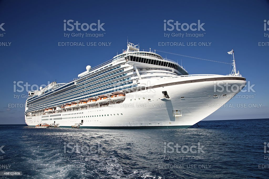 Cruise Ship Anchored in The Caribbean stock photo