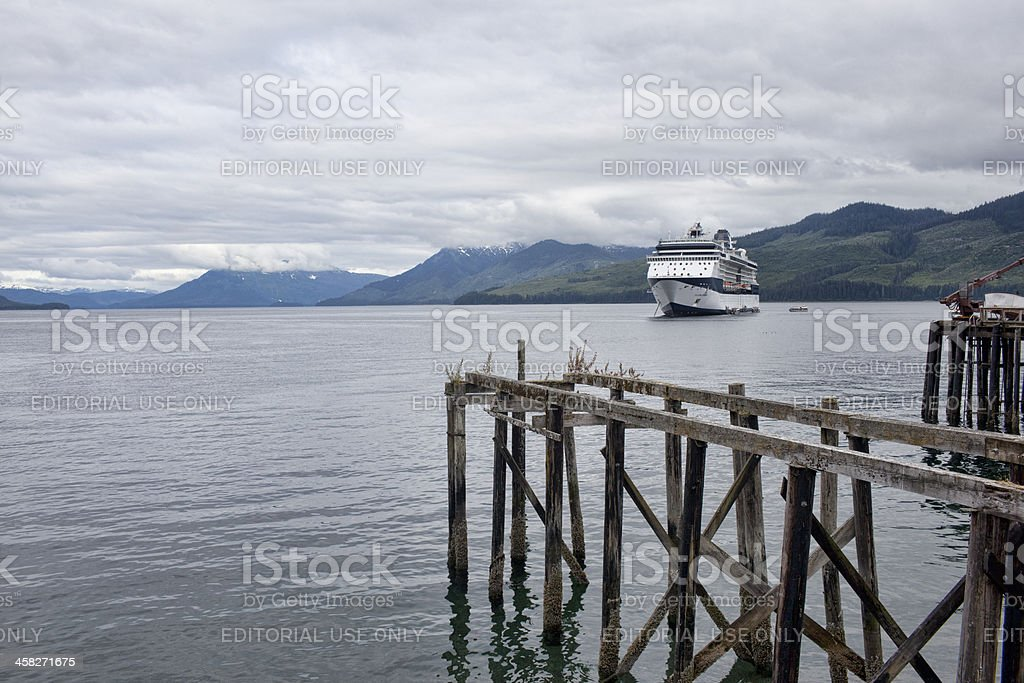 Cruise Ship Anchored Near Icy Strait Point Alaska stock photo
