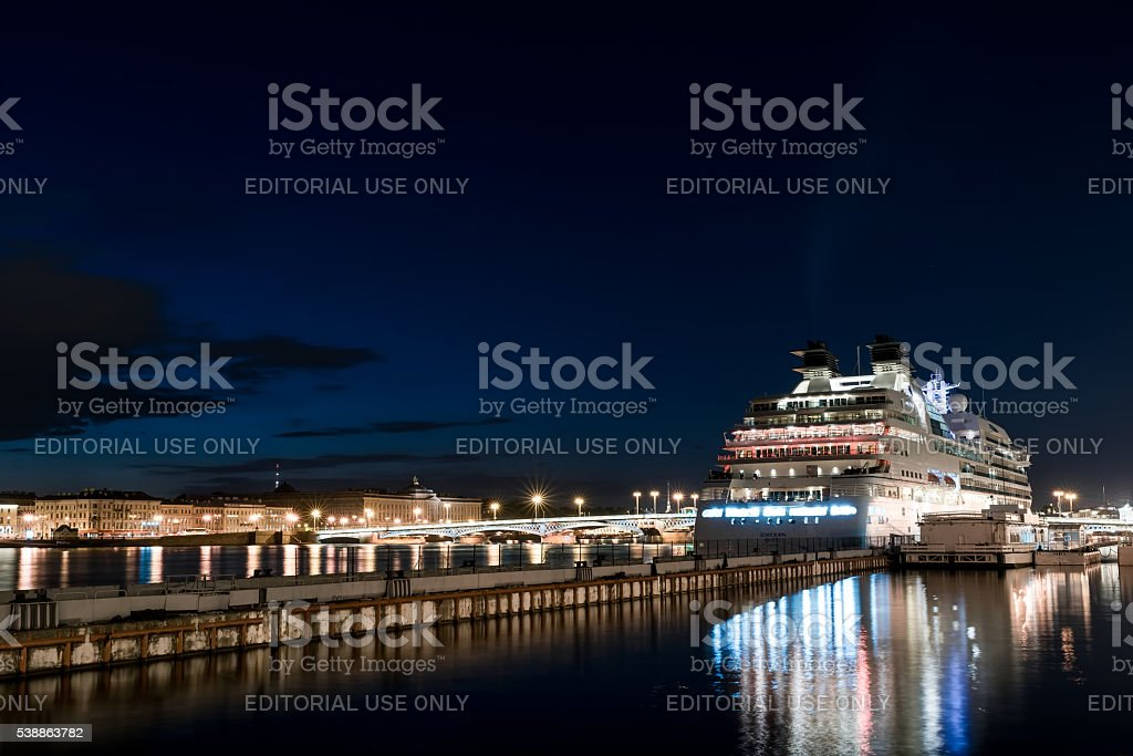 Cruise ship anchored stock photo