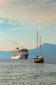 Cruise ship and sailship, Corfu, Greece