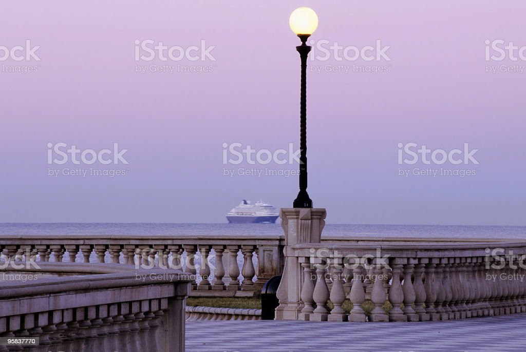 Cruise Ship and Street Light royalty-free stock photo