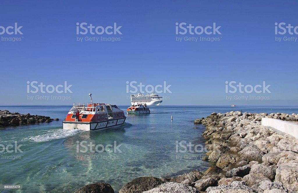 Cruise ship and Tenders royalty-free stock photo