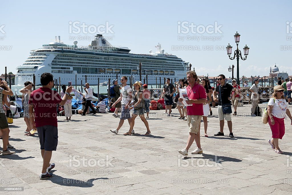 Cruise Ship and Tourists in Venice Italy stock photo