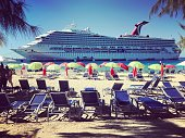 Cruise ship and tourists on Turks and Caicos islands