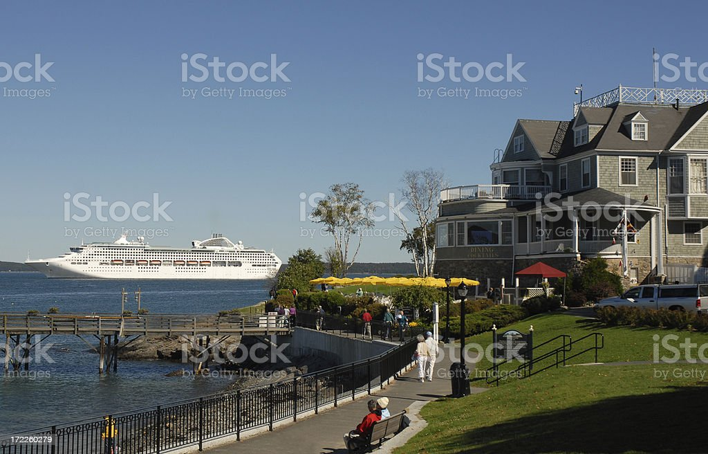 Cruise Ship at Bar Harbor stock photo