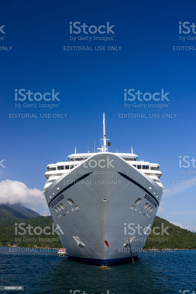 Cruise ship at Ilha Grande stock photo