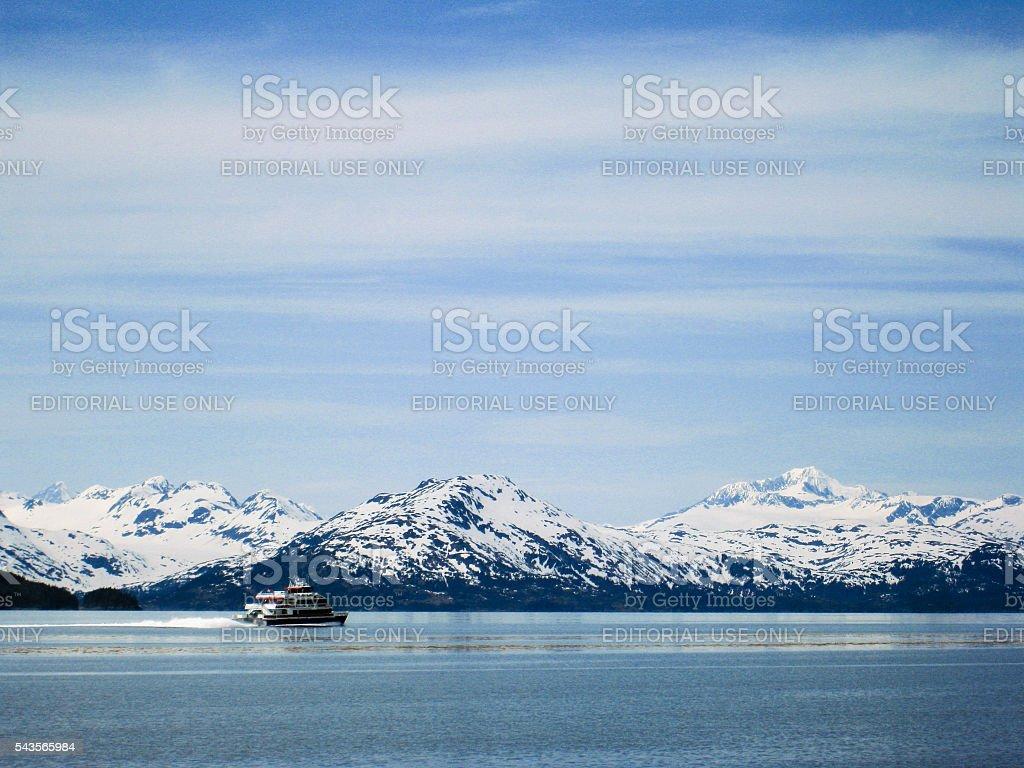 Cruise ship at Prince William Sound stock photo