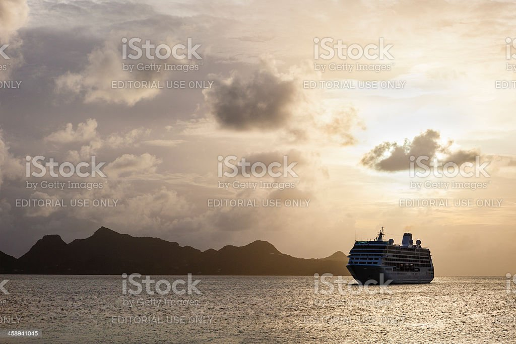 'Cruise Ship at sunset, Grenadines' stock photo