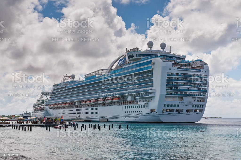 Cruise ship at the Harbor of Bonaire stock photo