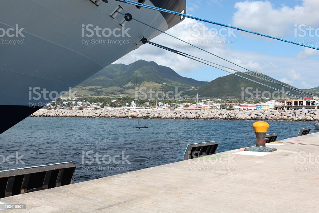 Cruise ship at the Port of St Kitts stock photo