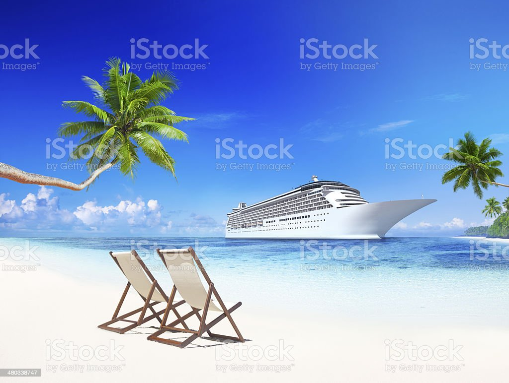 3D Cruise Ship at Tropical Beach stock photo