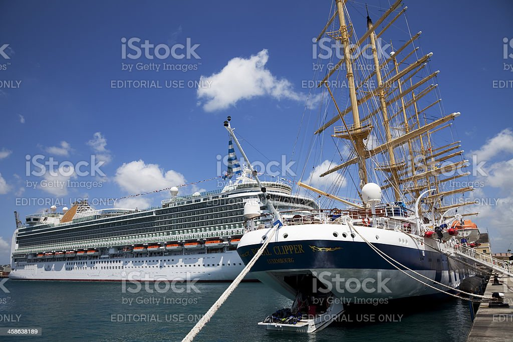 Cruise ship Azura and Royal Clipper docked in Bridgetown, Barbad stock photo