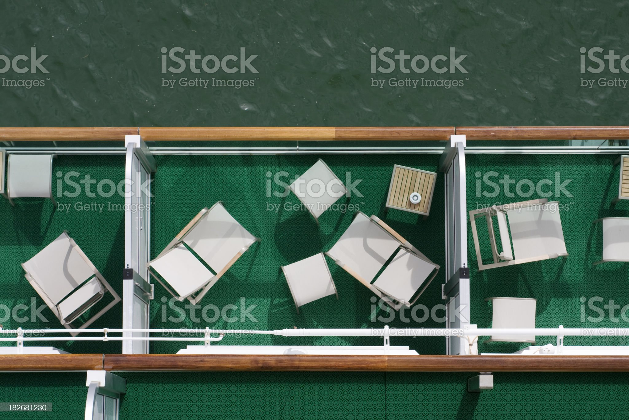 Cruise ship balconies, from above royalty-free stock photo