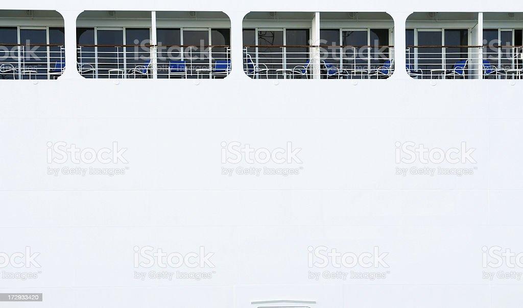 Cruise ship balconies.Copyspace. royalty-free stock photo