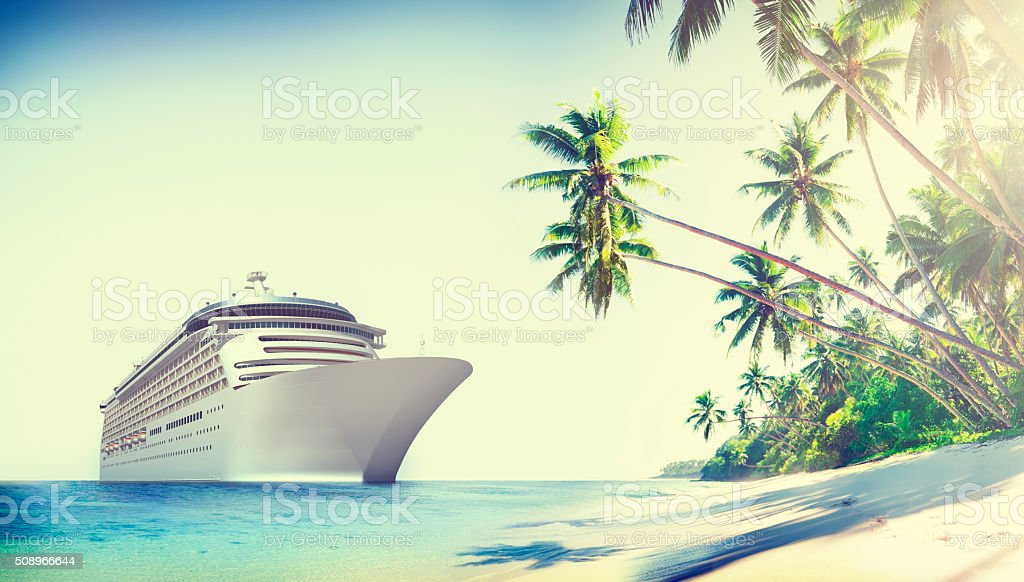 Cruise Ship Beach Sea Palm Tree Concept stock photo