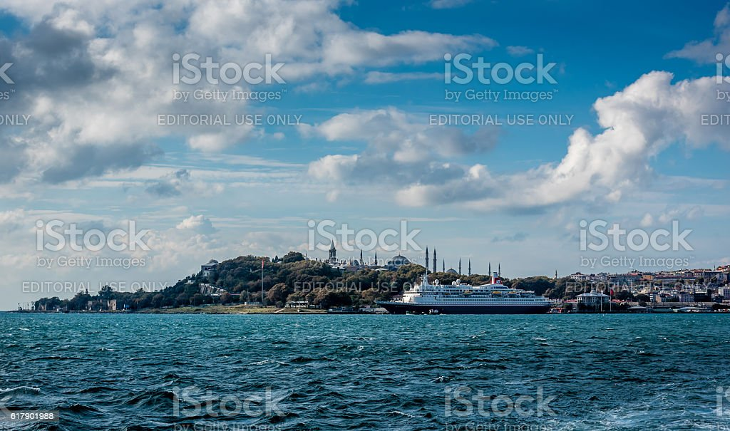 Cruise ship Boudicca and Golden Horn of Istanbul stock photo