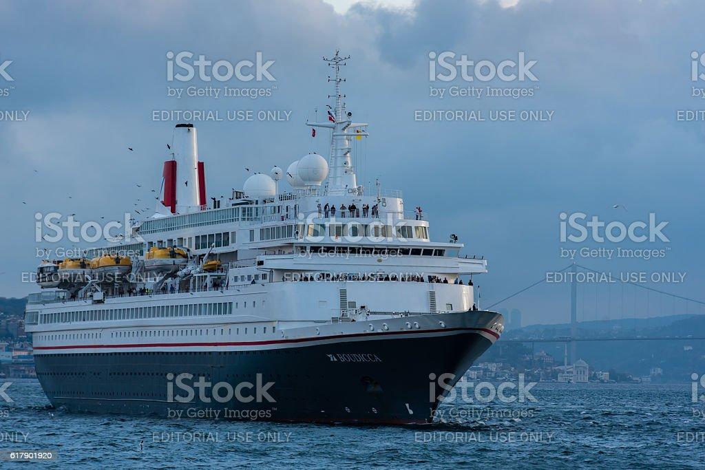 Cruise ship Boudicca arrived at Istanbul stock photo