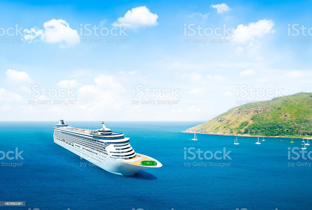 3D Cruise Ship By An Island royalty-free stock photo