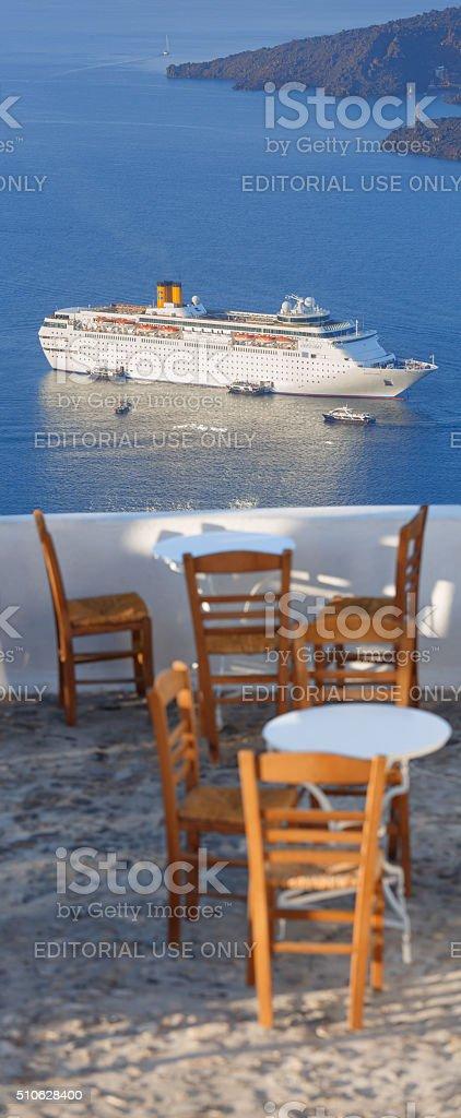 Cruise ship Costa Classica at Santorini Greece stock photo