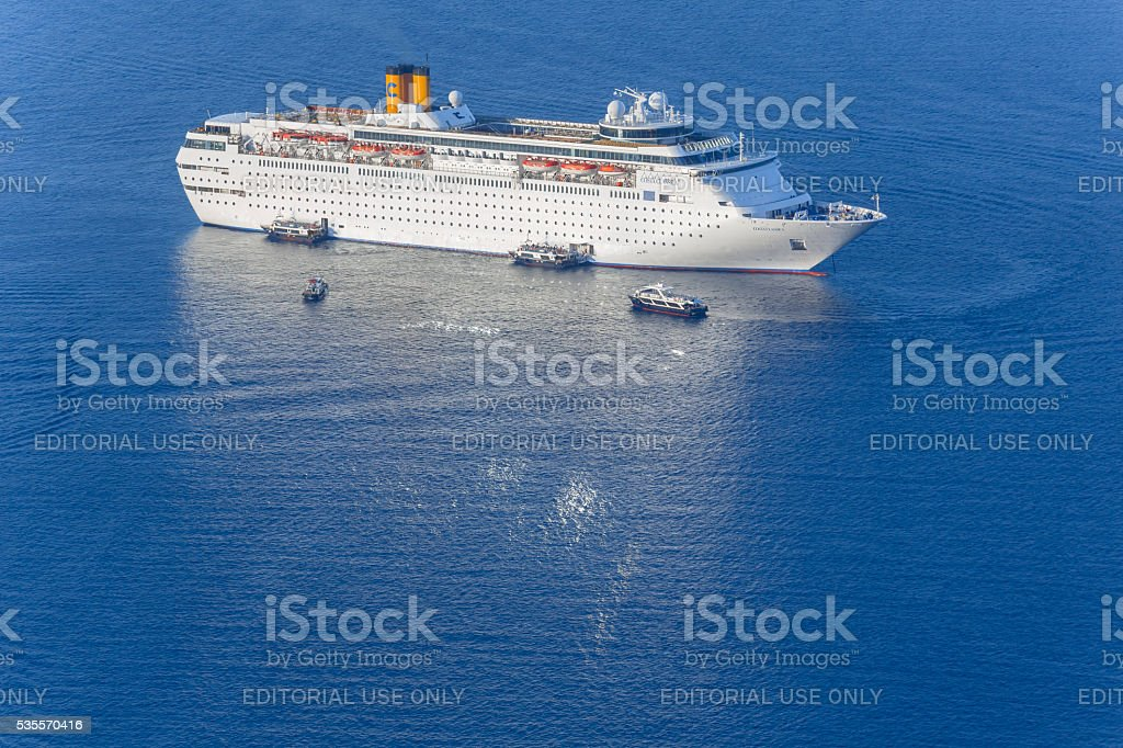 Cruise ship Costa Classica in Santorini Greece stock photo
