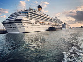 Cruise ship Costa Fascinosa in Barcelona Harbor