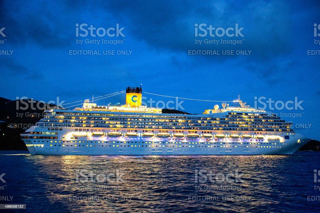 Cruise Ship Costa Fortuna in Tortola stock photo