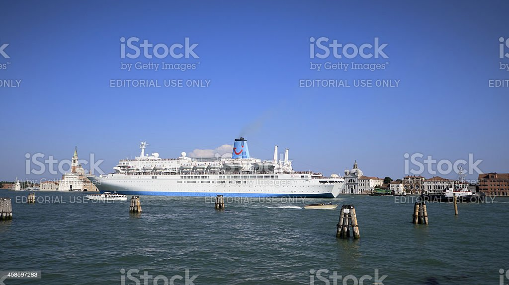 Cruise ship crossing the Venetian lagoon, Italy stock photo