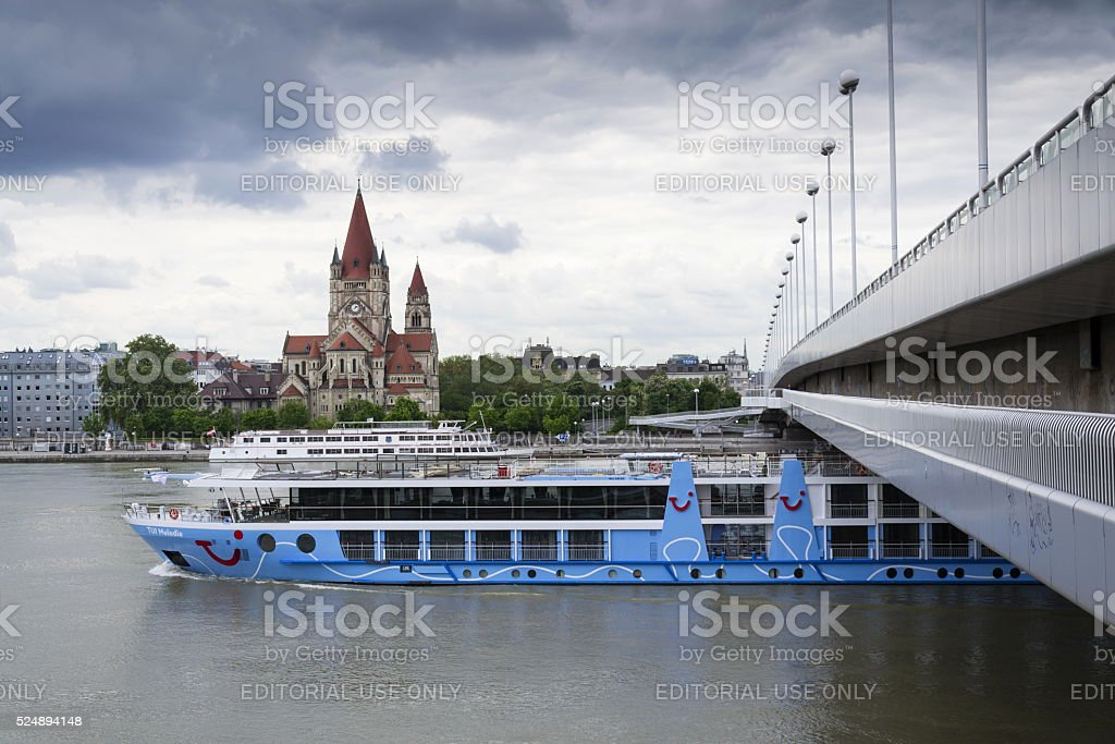 Cruise ship Danube with St. Francis of Assisi Church Vienna stock photo