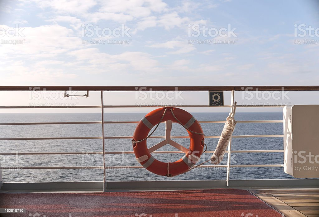 Cruise ship, deck and life preserver royalty-free stock photo