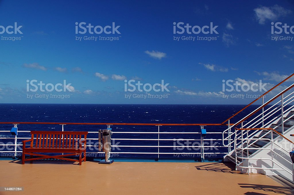Cruise Ship Deck and Railing in Caribbean stock photo