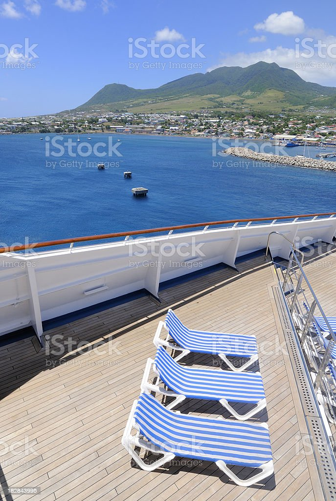 Cruise ship deck chairs royalty-free stock photo
