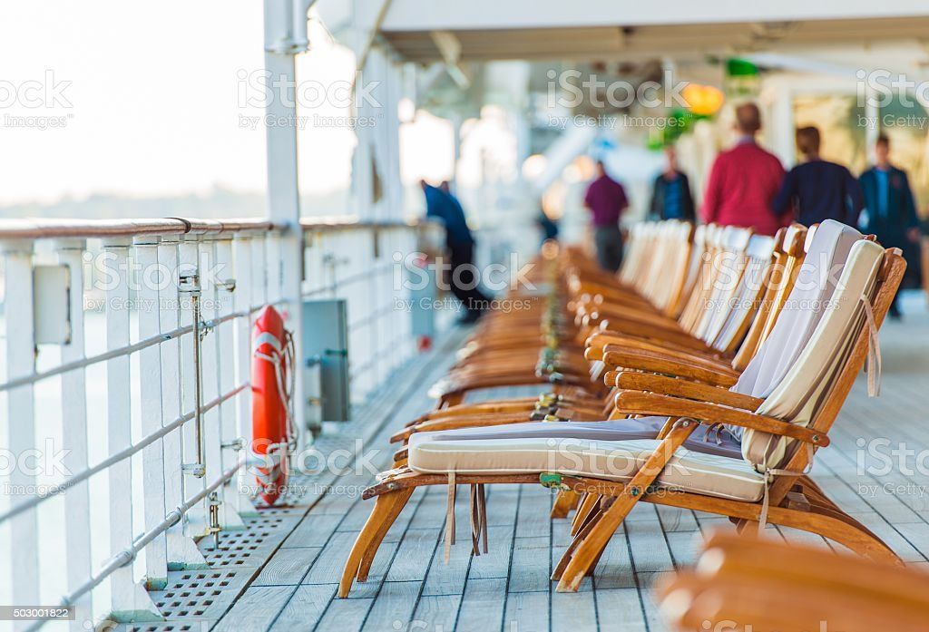 Cruise Ship Deck Chairs stock photo