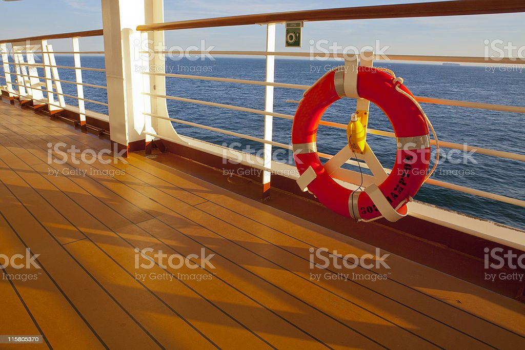 Cruise Ship Deck, Early Evening stock photo