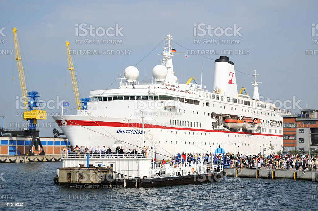 Cruise Ship Deutschland at old wood harbor of Wismar (Germany) royalty-free stock photo