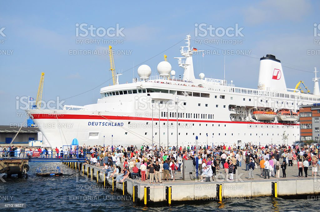 Cruise Ship Deutschland at old wood harbor of Wismar (Germany) stock photo