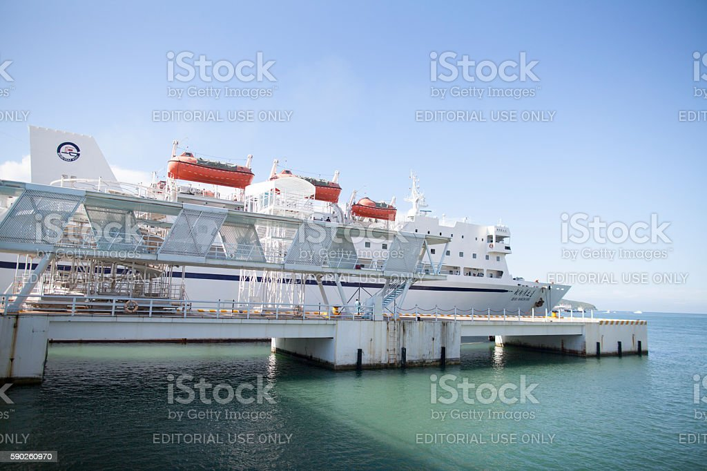 Cruise ship docked in Sanya, Hainan Island, China stock photo