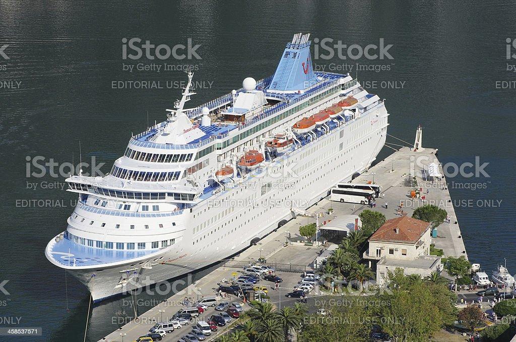 Cruise Ship Docked In The Kotor Harbor, Montenegro royalty-free stock photo