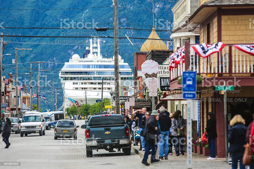 Cruise Ship docks at Skagway stock photo