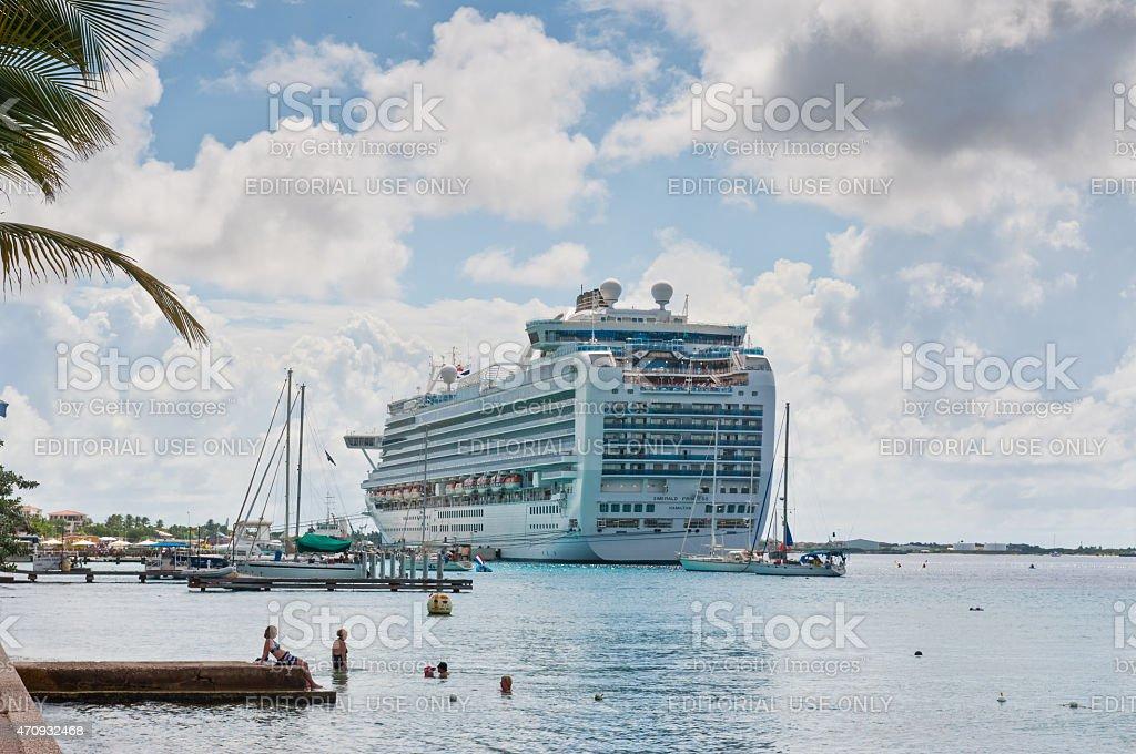 Cruise ship Emerald Princess moored to the quay in Kralendijk stock photo
