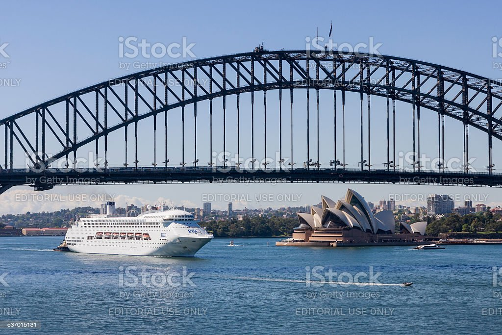 Cruise Ship Entering Sydney Harbour stock photo